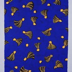 Staal-Yard, nr. 3586, donkerblauw met geel-zwarte kwasten - Jos Reniers, Textielmuseum (Frans van Ameijde / Joep Vogels), Vlisco (Helmond)