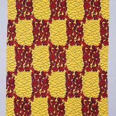 Staal-Yard, nr. 3499, in geel, rood en zwart - Textielmuseum (Frans van Ameijde / Joep Vogels), Vlisco (Helmond), Reijer Stolk (Johan Antonie)