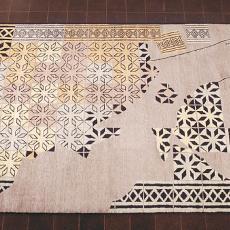 Vloerkleed, restauratie-ontwerp voor stertegelvloer - Cilia Grégoire, Atelier in India