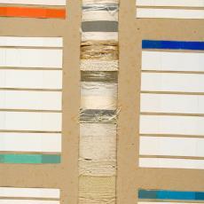 Wandplaat met kleur-, structuur- en materiaaloefeningen - Textielmuseum (Joep Vogels), Textielmuseum (Joep Vogels), Textielmuseum (registratiefoto), Textielmuseum (registratiefoto), Kitty van der Mijll Dekker (Fischer-), Textielmuseum (registratiefoto), Textielmuseum (registratiefoto)