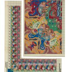 'Moeras II', patroontekening en wolstalenkaart - Th.A.C. Colenbrander, Koninklijke Deventer Tapijtfabriek (Deventer)