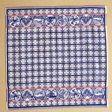 Blauwe keukenhanddoek 'Souvenir' - Mariëtte Wolbert, Textielmuseum (Frans van Ameijde / Joep Vogels), Elias Jorzolino (Neede)