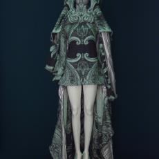 Jurk, masker en schoenen uit Couture Collectie 'Irradiance voorjaar 2011' - Audax Textielmuseum Tilburg, Jan Taminiau