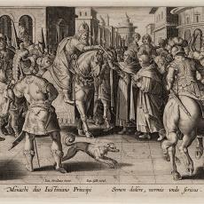 Twee monniken geven eitjes van de zijdevlinder aan Keizer Justianus (2/6) - Johannes Galle, Karel de Mallery, Jan van der Straet (Johan Stradanus), Pictura (fotografie)