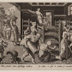 Voeren van zijderupsen met moerbeibladeren (5/6) - Karel de Mallery, Pictura (fotografie), Johannes Galle, Jan van der Straet (Johan Stradanus)