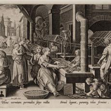 Vrouwen haspelen zijden draden tot garens (6/6) - Karel de Mallery, Johannes Galle, Jan van der Straet (Johan Stradanus), Pictura (fotografie)