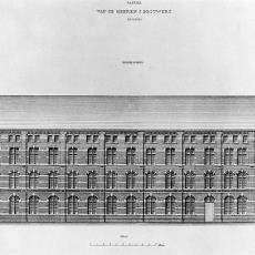 Tekening van de noorder zijgevel van J. Brouwers Lakenfabrieken - Ed. Fremau, Pictura (fotografie), G.J. Thieme (Arnhem)