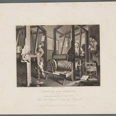 Industry and idleness. Plate 1. The fellow' prentices at their looms' - naar William Hogart, Pictura (fotografie), E. Smith, Temples of the Muses Jones & Co.