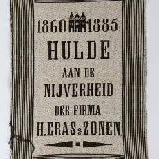 Proefstuk gedenkdoekje firma H. Eras & Zonen - Weefschool Tilburg, Textielmuseum (Josefina Eikenaar)