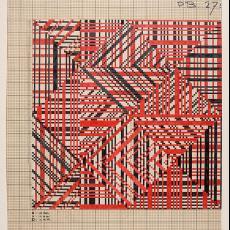 Patroontekening tapijt '13507' - Benno Premsela, Van Besouw (Goirle), Textielmuseum (registratiefoto), Premsela Vonk (Amsterdam), Diek Zweegman