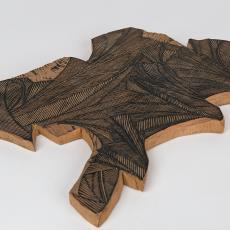 Houten stempel met gestileerd bladmotief - Textielmuseum (Josefina Eikenaar), Reijer Stolk (Johan Antonie), Textielmuseum (Josefina Eikenaar)