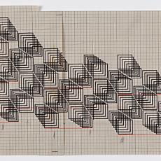 Patroontekening voor projecttapijt voor Van Besouw - 2 chorig - Van Besouw (Goirle), Diek Zweegman, Premsela Vonk (Amsterdam), Textielmuseum (registratiefoto)