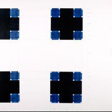 Ontwerp voor een zakdoek voor 'Kunst en Bedrijf' - Premsela Vonk (Amsterdam), Diek Zweegman, Textielmuseum (registratiefoto), Stichting Kunst en Bedrijf (Amsterdam), Textielmuseum (registratiefoto), Textielmuseum (registratiefoto)