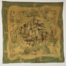 Sjaal met schilderachtige vismotieven - H. van Kruiningen, Textielmuseum (Josefina Eikenaar)