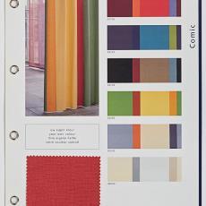 Stalenkaart Ploeg gordijnstoffen 'Comic' - Textielmuseum, Weverij De Ploeg (Bergeijk)