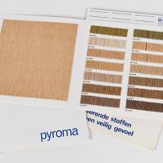 Stalenkaarten Ploeg gordijnstoffen 'Pyroma', 'Novalin', 'Ourthe' en 'Copal' - Weverij De Ploeg (Bergeijk), Textielmuseum