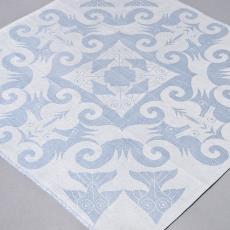 Damasten vingerdoekje 'Zeepaardjes en vissen' (blauw) - Textielmuseum (Joep Vogels), Linnenfabrieken E.J.F. van Dissel & Zonen (Eindhoven), M.C. Escher