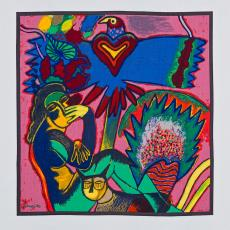 Sjaal 'Elle se donne à rêver', uit de serie 'With the Season's Greetings' - Gamma Holding, Corneille, Textielmuseum (Josefina Eikenaar), Texoprint (Boekelo)