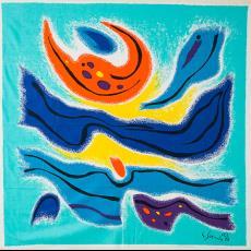 Sjaal 'Egéenne' / 'Bevaarbare ruimte' - Texoprint (Boekelo), Gamma Holding, Gustave Singier, Textielmuseum (Josefina Eikenaar), Textielmuseum (Josefina Eikenaar)