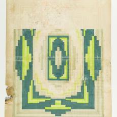 Ontwerptekening voor deken in Art Deco stijl - M. van Beurden-van Moll Wollendekenfabriek, Gustav Berndt, Textielmuseum (Josefina Eikenaar)