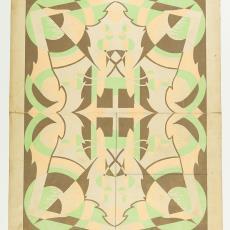 Ontwerptekening voor deken in Art Deco stijl - Gustav Berndt, M. van Beurden-van Moll Wollendekenfabriek, Textielmuseum (Josefina Eikenaar)