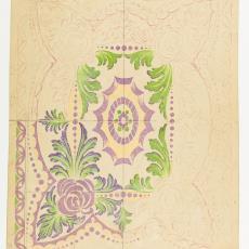 Ontwerptekening voor deken in Art Deco stijl - Johannes Borger, Textielmuseum (Josefina Eikenaar), M. van Beurden-van Moll Wollendekenfabriek
