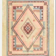 Ontwerptekening voor deken in Art Deco stijl - M. van Beurden-van Moll Wollendekenfabriek, Gebr. Pilters, Textielmuseum (Josefina Eikenaar)