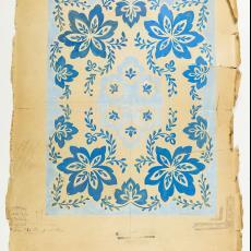 Ontwerptekening voor deken met bloemmotieven - Gebr. Pilters, Textielmuseum (Josefina Eikenaar), M. van Beurden-van Moll Wollendekenfabriek