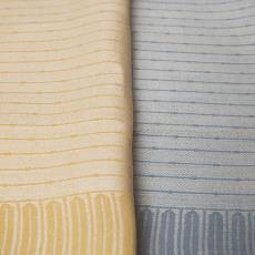 Lichtgeel-witte en lichtblauw-witte linnen handdoek - Linnenfabrieken E.J.F. van Dissel & Zonen (Eindhoven), Textielmuseum (Josefina Eikenaar), onbekend, Textielmuseum (Josefina Eikenaar), Textielmuseum (Josefina Eikenaar)