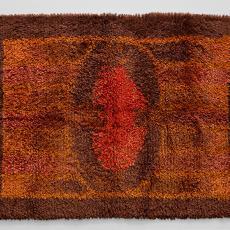 Oranje-bruin vloer- of wandkleed - Handweverij De Knipscheer (Laren), Cor van Mourik (toegeschreven), Lange, Tommy de