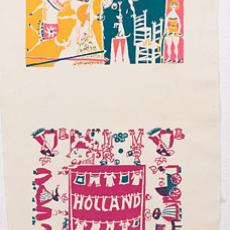 Proeven voor zakdoeken met diverse opschriften - Boris van Wijk, Peggy Bannenberg, Agnes van Genderen