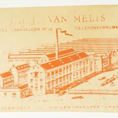 Reclameplaat 'JHJ van Melis fabrikant in wollen manufacturen' - J.H.J. van Melis, Textielmuseum (Josefina Eikenaar)