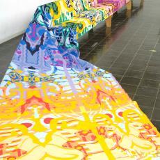 Jufferbank met meubelstof 'Sassandra' - Textielmuseum (Joep Vogels), Textielmuseum (Joep Vogels), Audax Textielmuseum Tilburg, Textielmuseum (Joep Vogels), Textielmuseum (Joep Vogels), Christie van der Haak, Piet Hein Eek