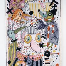 'Birds' uit de collectie 'FAUNA by HAYON' - Jaime Hayon, Lange, Fotografie Tommy de, Lange, Fotografie Tommy de, Audax Textielmuseum Tilburg, werkplaats, Lange, Fotografie Tommy de