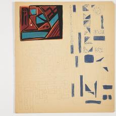 Ontwerptekening met 4 ontwerpen met vlakken, waarvan 1 in rood, azuur, zwart en oranje - Désirée Scholten-van de Rivière