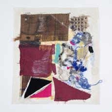 Ontwerptekeningen: collage met textiel en gouache in diverse kleuren en schetsen in ruit- en blokpatronen - Lange, Tommy de, Désirée Scholten-van de Rivière, Lange, Tommy de