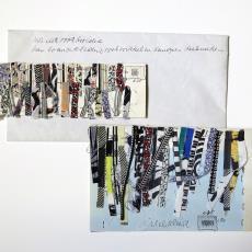 Enveloppe met ontwerpen, monstervoorbeelden voor wandkleden. - Lange, Tommy de, Désirée Scholten-van de Rivière, Lange, Tommy de