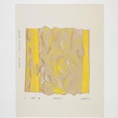 Ontwerptekening voor wandkleed in geel, bruin, wit - Désirée Scholten-van de Rivière
