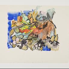 Ontwerptekening van bladvormen op meerkleurige ondergrond - Lange, Tommy de, Désirée Scholten-van de Rivière