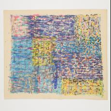 Ontwerptekening van blokken waarin strepen in met name blauw- en geeltinten - Désirée Scholten-van de Rivière, Lange, Tommy de
