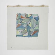 Ontwerptekening van verschillende vormen in met name groen- en blauwtinten - Lange, Tommy de, Désirée Scholten-van de Rivière
