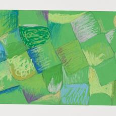 Ontwerptekening: blokken en gebogen vormen in met name groen- en blauwtinten - Herman Scholten, Désirée Scholten-van de Rivière, Lange, Tommy de