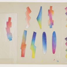 Ontwerptekening voor wandtapijt in voornamelijk rood/blauw tinten - Lange, Tommy de, Herman Scholten