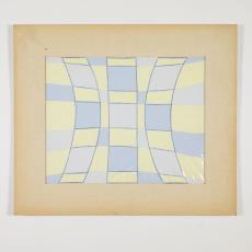 Ontwerptekening, in een passepartout, met vertikale gebogen blauwe lijnen en horizontale gebogen lijnen met potlood met vlakken in pasteltinten. - Herman Scholten, Lange, Tommy de