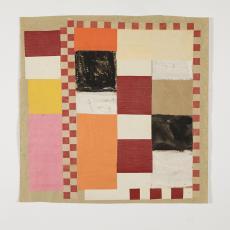Ontwerpschets met horizontale en vertikale rechthoeken en banen in voornamelijk rood-bruin tinten. - Lange, Tommy de, Herman Scholten