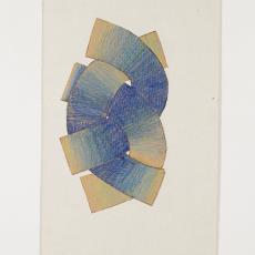 Ontwerptekening 'DRIE BANDEN': drie in elkaar gevlochten banden in blauwtinten. - Lange, Tommy de, Herman Scholten