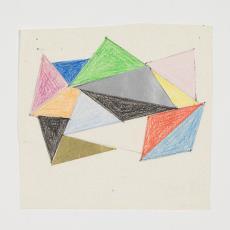 Ontwerptekening van verschillende driehoeken in verschillende kleuren van verschillend formaat tegen elkaar - Lange, Tommy de, Herman Scholten