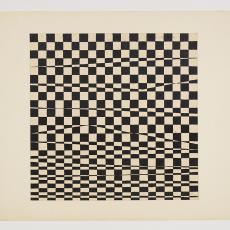 Ontwerptekening: grafische vorm van vierkanten en golvende lijnen - Herman Scholten