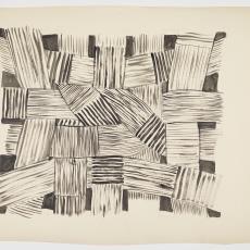 Ontwerptekening in antraciet-wit van gevlochten stroken met streeppatroon en enkele zwarte vlakken - Herman Scholten