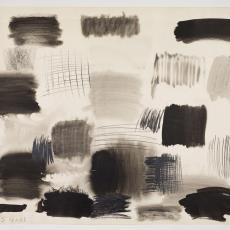 Ontwerptekening: blokken in zwart en antraciet - Herman Scholten